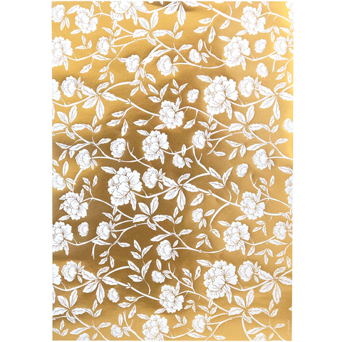 A4 Paper Floral Wallpaper Gold   (5 pack)