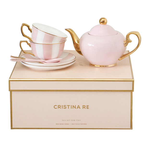 Two Cup Blush Stripe Teaset