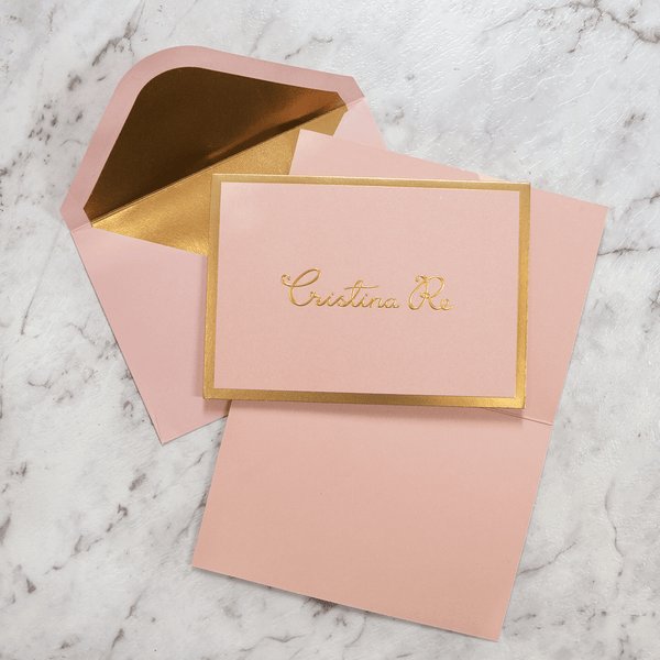 A6 Card Cristina Re Signature Pink Gold Foil