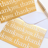A6 Card and Envelopes Gold Thank You PK10