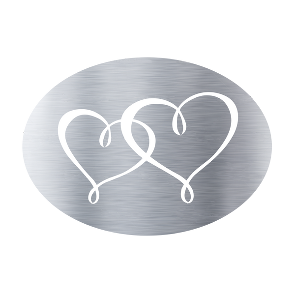 Metallic Twin Hearts Silver (50 Qty)