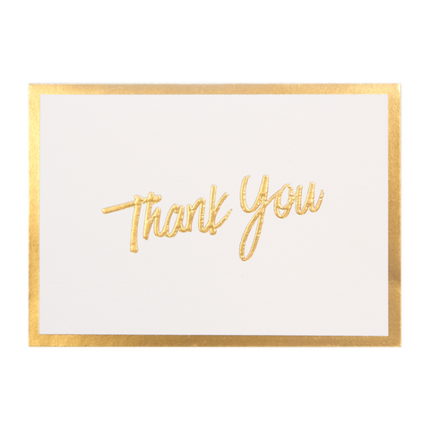 A6 Thank You Cards and Envelopes Gold Script PK10
