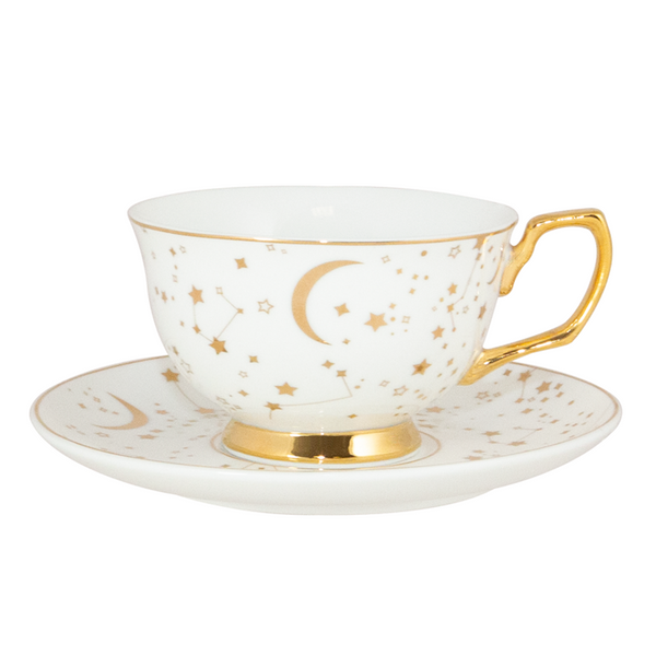 It's Written in the Stars Teacup & Saucer - Ivory & Gold
