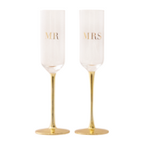 Champagne Flutes Crystal MR & MRS Set of 2