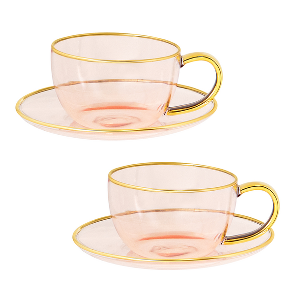 Rose Glass Teacup and Saucer Set of 2