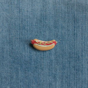 Hotdog Enamel Pin Denim