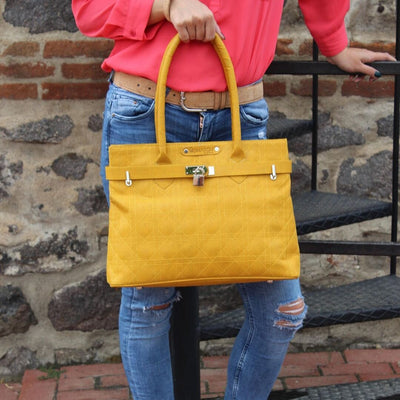 The Smyrna Bag-Sunshine Yellow Cork Handbag