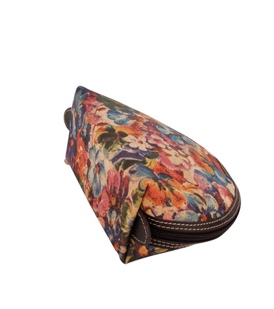 Cork Bag for Cosmetics, Floral Print with Leather Trim. Waterproof