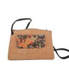 Cork Bag with Crossbody Strap. Floral Print. Leather Trim