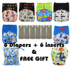 All-in-two Reusable Cloth Diaper - 6 Piece Bundle +  FREE Gift