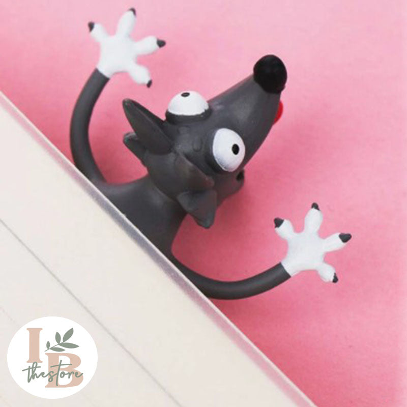 Cute 3D Kawaii Squished Wolf Bookmark