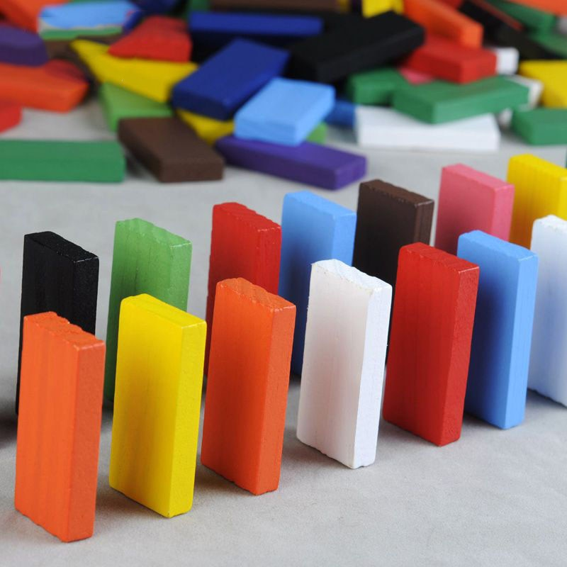 Wooden Rainbow Domino Blocks Set - 120 Piece