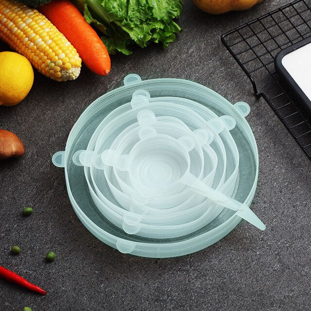 Eco-Friendly Reusable Silicone Lids, 6-Pack