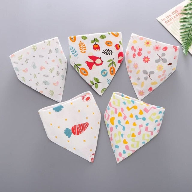 Cotton Blend Baby Bandana Bibs, 5-Pack Girls
