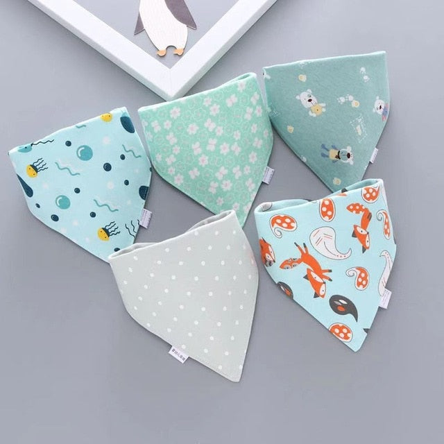 Cotton Blend Baby Bandana Bibs, 5-Pack Boys