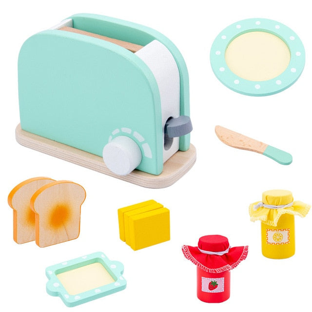 Wooden Pretend Play Toaster Set - Blue