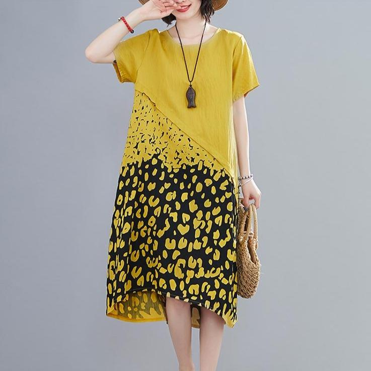 Demeter Plus Size  Leopard Print Sundress - Yellow