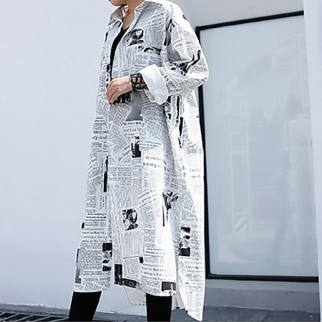 Izzy Long-Sleeve Newspaper Shirt Dress