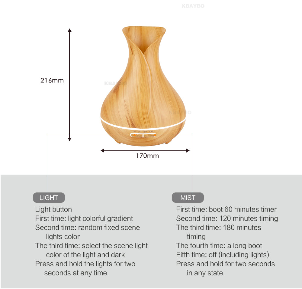 Wooden Ultrasonic Essential Oil Diffuser with LED Lights