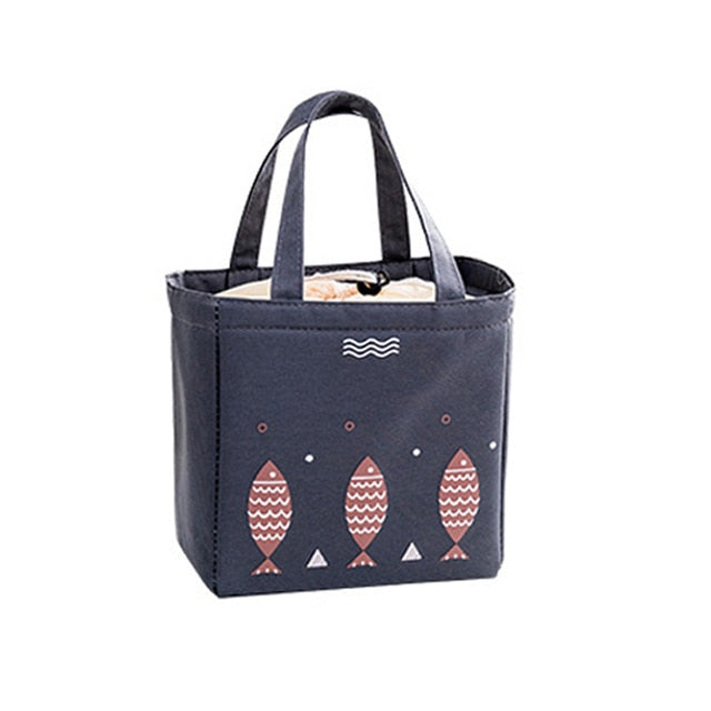 Drawstring  Lunch Tote Cooler Bag - Fish