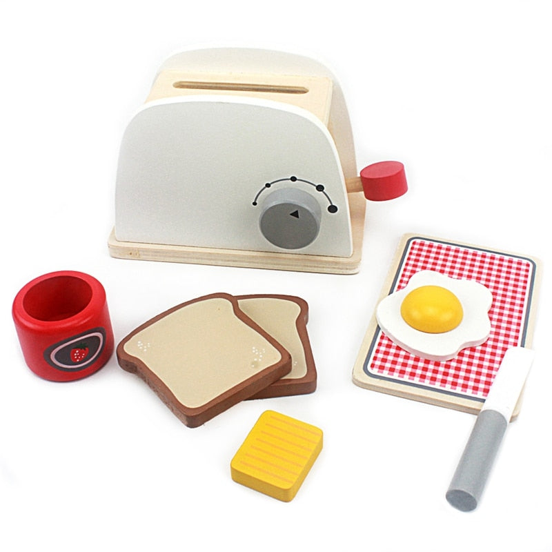 Wooden Pretend Play Kitchen Toaster Set
