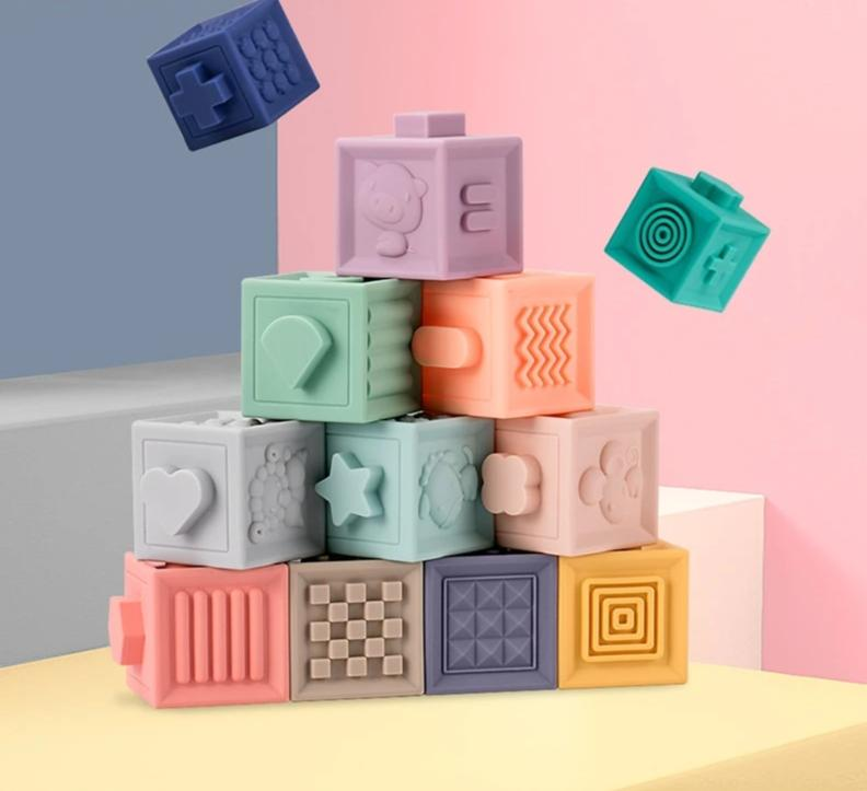Soft 3D Sensory Teething Building Blocks - 6  or 12 Piece Set