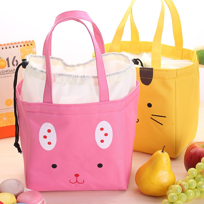 Drawstring  Lunch Tote Cooler Bag - Happy Face