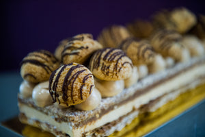 Paris-brest cake is made in Calgary, in-house, by pastry chef Yann Blanchard and Team, with friendly hazelnuts.