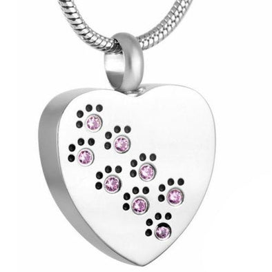 Pink Crystal Paw Prints On My Heart - Urn Necklace