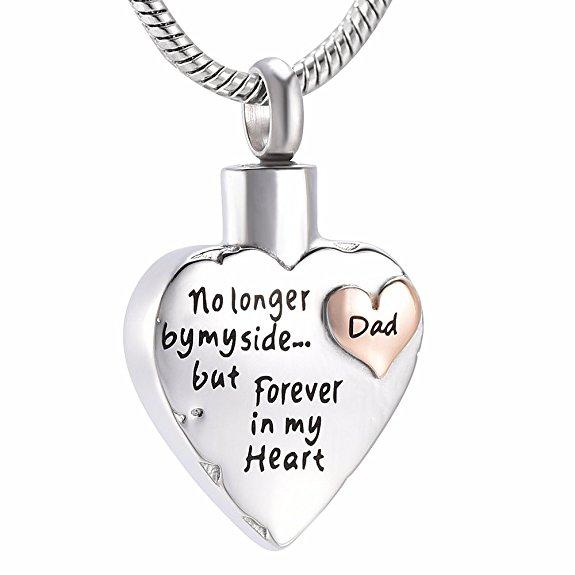 No Longer By My Side Heart In Heart - Dad - Urn Necklace