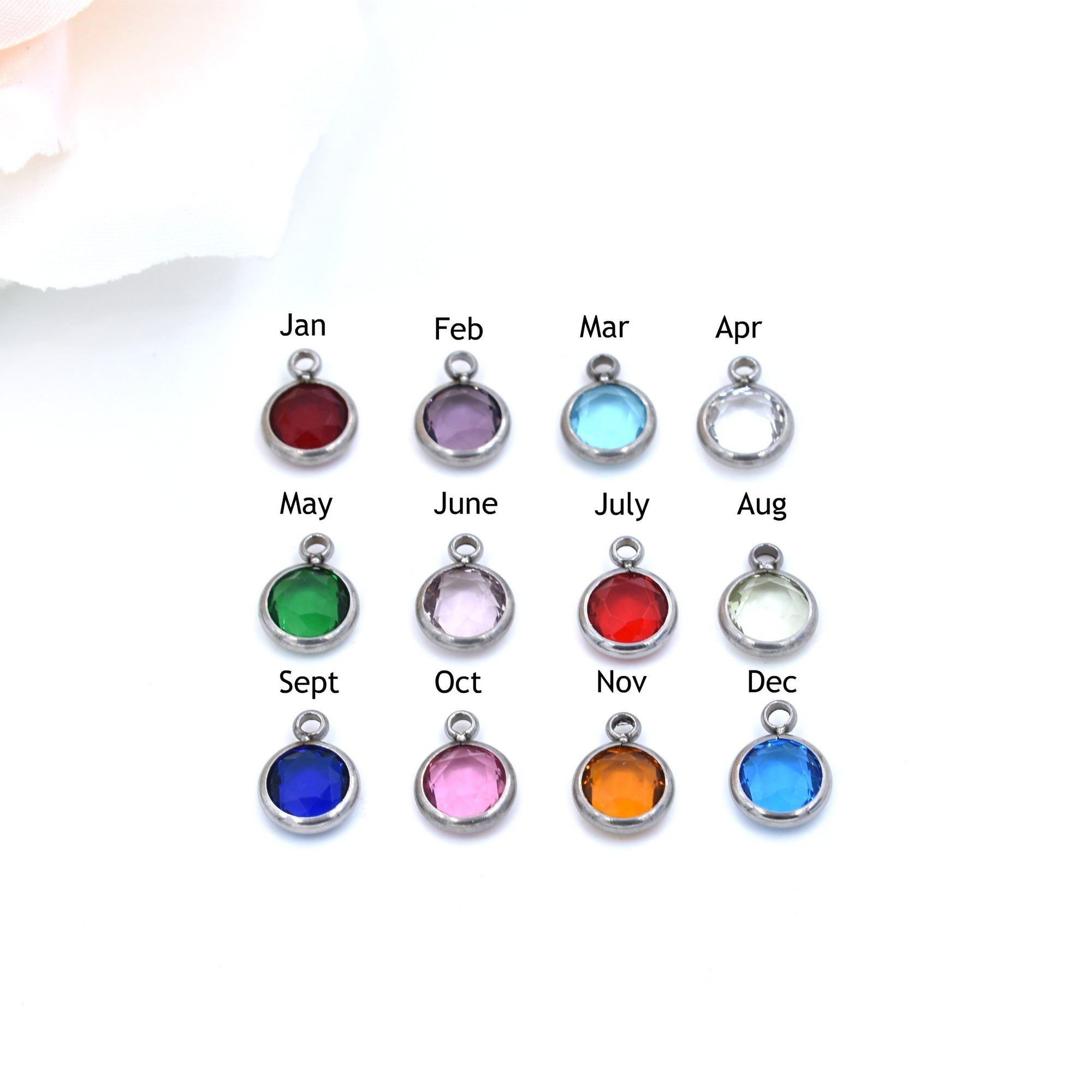 Stainless Steel Birthstone Charms, 6MM Channel Set