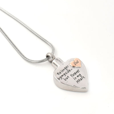No Longer By My Side Heart In Heart - Urn Necklace