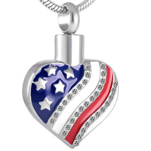 American Flag Heart - Urn Necklace