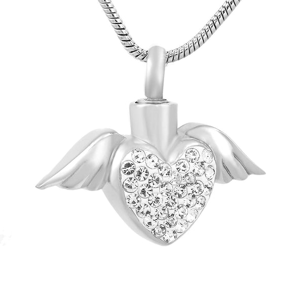 Angel Wings Holding Heart - Clear - Urn Necklace