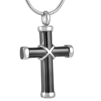 Black And Silver Criss-Cross Cross - Urn Necklace