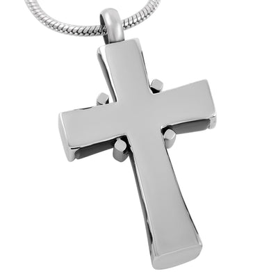 Black And Silver Cross With Crystals - Urn Necklace