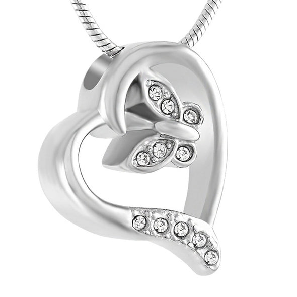 Crystal Butterfly In Heart - Urn Necklace