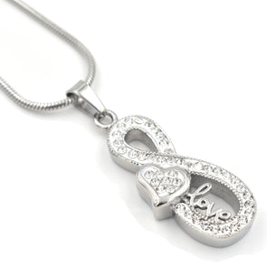 Crystal Infinity With Heart - Urn Necklace