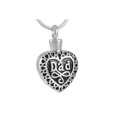 Dad Heart With Scrollwork - Urn Necklace