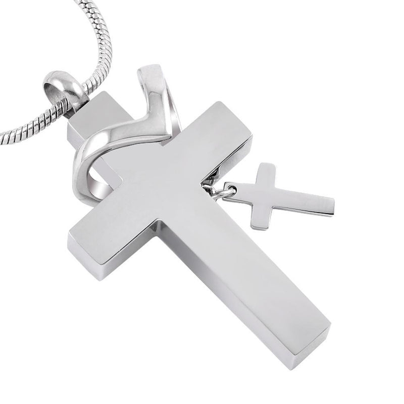 Double Cross With Crystals - Urn Necklace