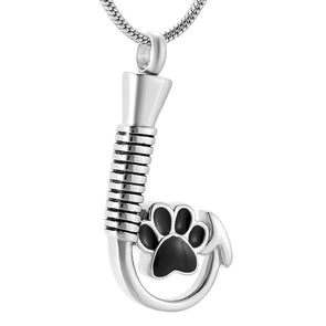 Fishing Hook With Dog Paw - Urn Necklace
