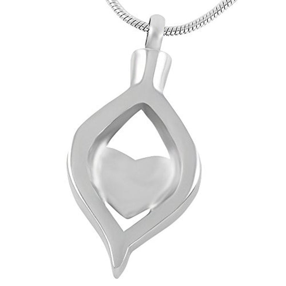 Cz Teardrop Ribbon Heart - Urn Necklace