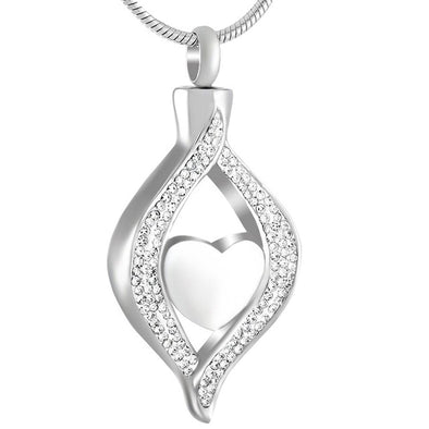 Cz Teardrop Ribbon Heart - Silver - Urn Necklace