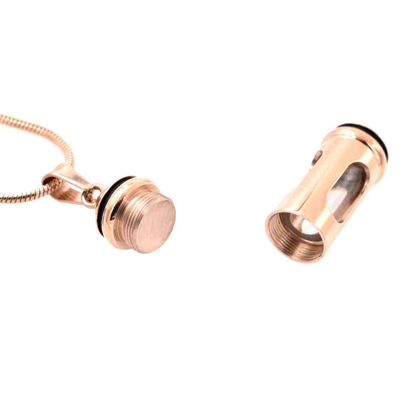 Glass Window Cylinder - Rose Gold - Urn Necklace