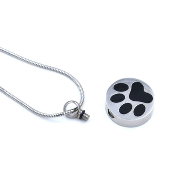 Stainless Steel Pet Urn Ashes Necklace | Cremation Jewelry Necklace with Paw Print | Personalized, Engraved Jewelry | Urn Necklace for Dog