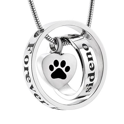 No Longer By My Side Forever In My Heart Paw Print - Urn Necklace