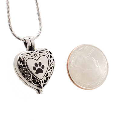 Paw Print Heart Locket - Urn Necklace