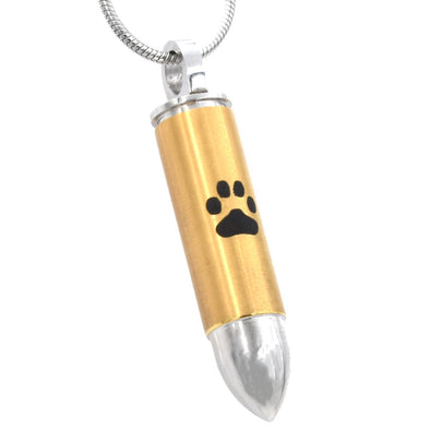 Paw Print Bullet - Silver & Gold - Urn Necklace
