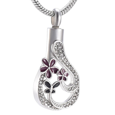 Purple Flower Teardrop - Urn Necklace