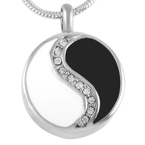 Yin Yang With Crystals - Urn Necklace